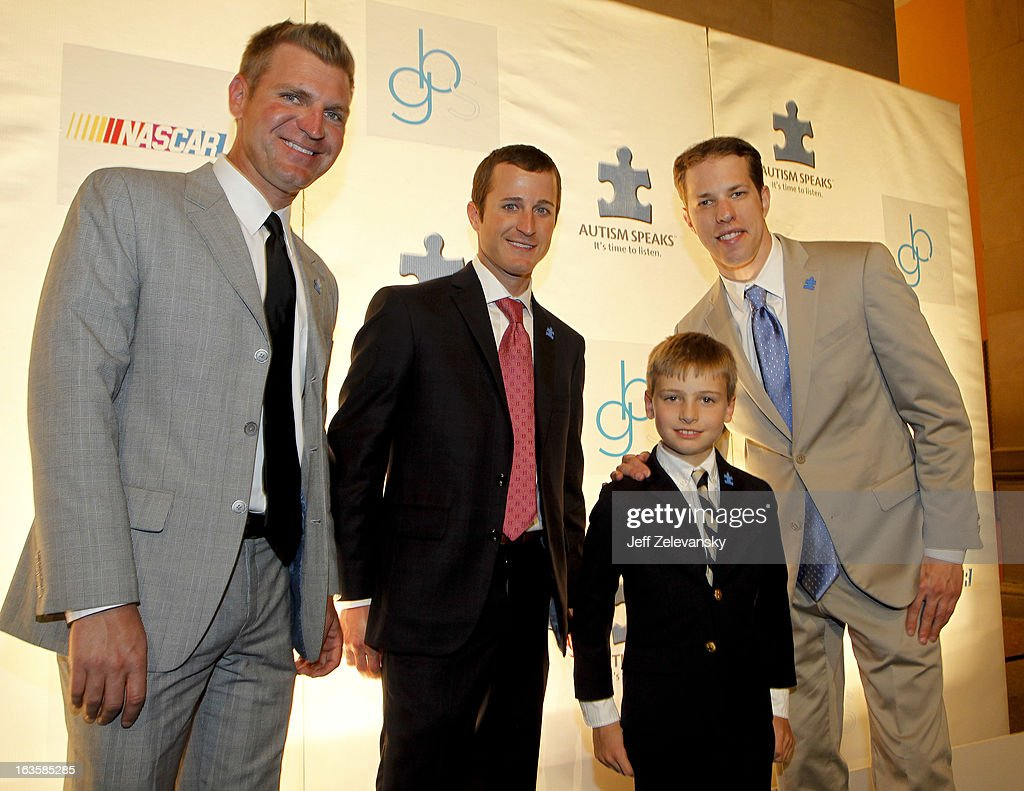 NASCAR drivers <a gi-track='captionPersonalityLinkClicked' href=/galleries/search?phrase=Clint+Bowyer&family=editorial&specificpeople=537951 ng-click='$event.stopPropagation()'>Clint Bowyer</a>, Kasey Kahne and <a gi-track='captionPersonalityLinkClicked' href=/galleries/search?phrase=Brad+Keselowski&family=editorial&specificpeople=890258 ng-click='$event.stopPropagation()'>Brad Keselowski</a> pose for a picture with Mattias Hilderbrand at 'Speeding For A Cure', a gala to benefit Autism Speaks held at the Metropolitan Museum of Art on March 12, 2013 in New York City.