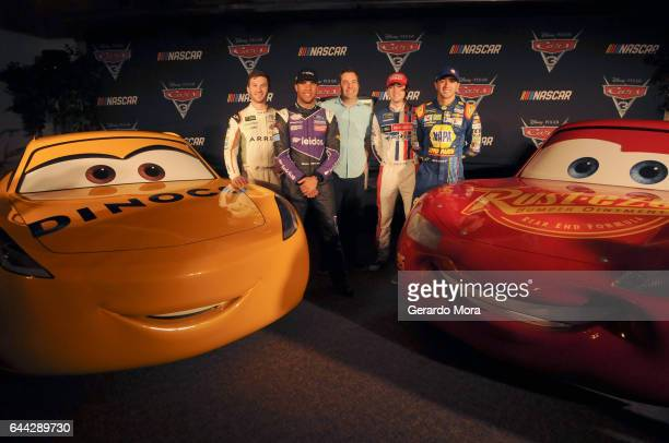 NASCAR drivers Daniel Suarez Bubba Wallace director Brian Fee Ryan Blaney and Chase Elliott attend the 'Cars 3' NASCAR Collaboration Announcement on...