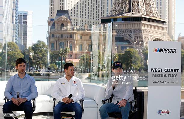 Drivers Daniel Suarez Kyle Larson and Ryan Blaney partivipate in a panel discussion during NASCAR West Coast Media Day at Hyde Bellagio at Bellagio...