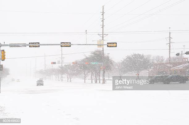 Drivers experience near whiteout conditions on December 27 2015 in Lubbock Texas Coming on the heels of several strong tornadoes some northern parts...