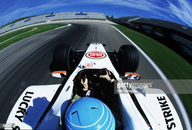 Drivers eye view of race track during a Lucky Strike and Jardine PR Project held in Valencia Spain on May 24 2002