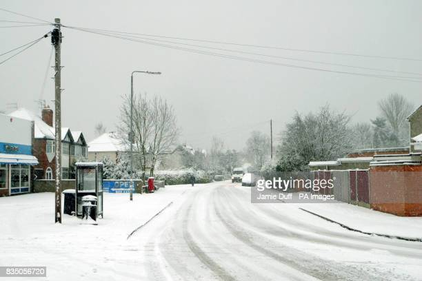 Drivers face hazardous driving conditions in Chilwell Nottinghamshire as heavy snowfall hits parts of the UK