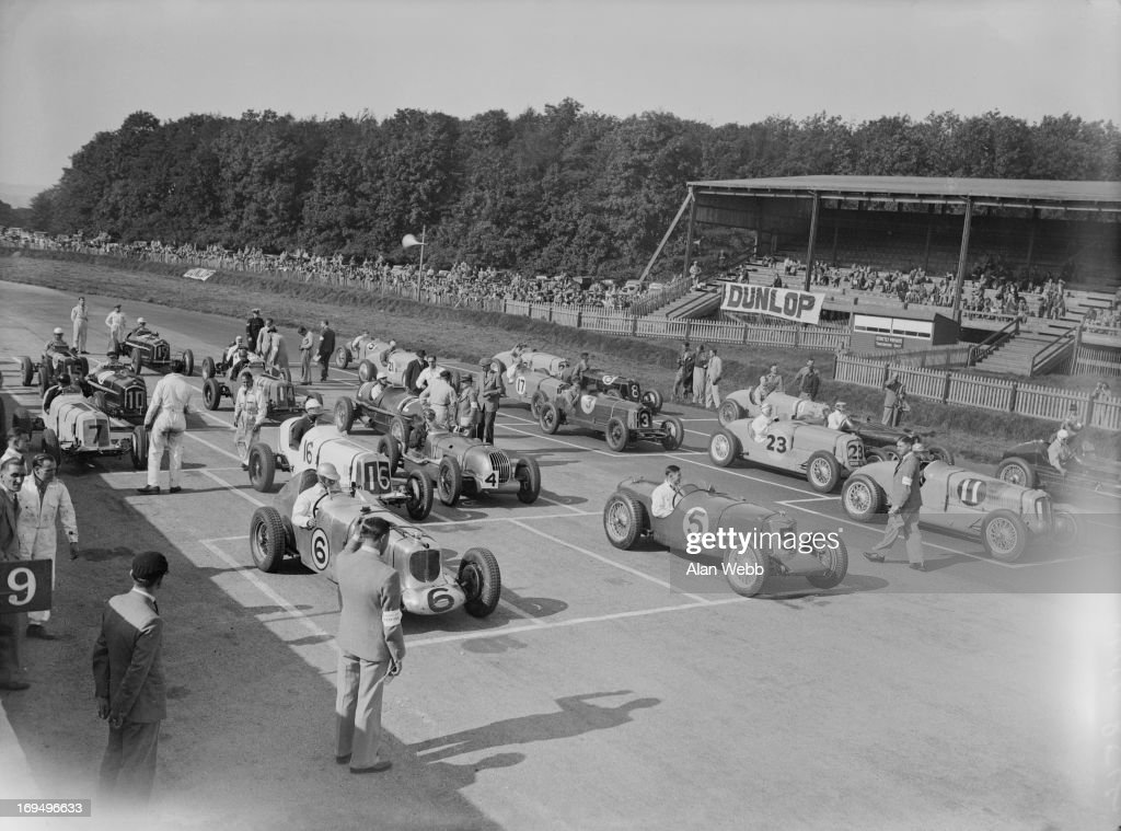Drivers getting ready to start the 306 mile International Grand Prix which was won today by Hans Reusch of Switzerland and RJB Seaman of England 4th...