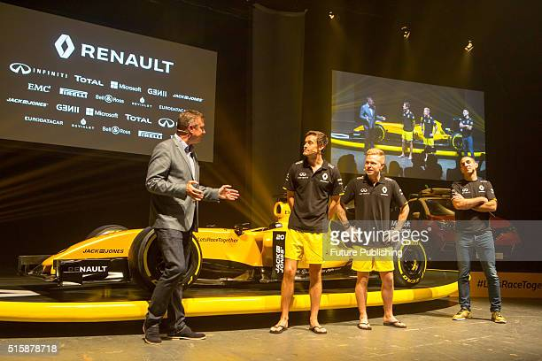 F1 drivers Jolyon Palmer and Kevin Magnussen and team boss Cyril Abiteboul discuss the new 2016 Reanault F1 team livery with David Croft on March 16...