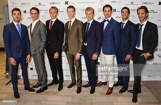 F1 Drivers Jules Bianchi Esteban Gutierrez Max Chilton Daniil Kvyat Marcus Ericsson Adrian Sutil Daniel Ricciardo and JeanEric Vergne attend the...