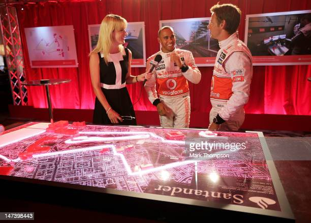 F1 drivers Lewis Hamilton and Jenson Button are interviewed at the launch of the London Grand Prix by Santander at the Royal Automobile Club on June...