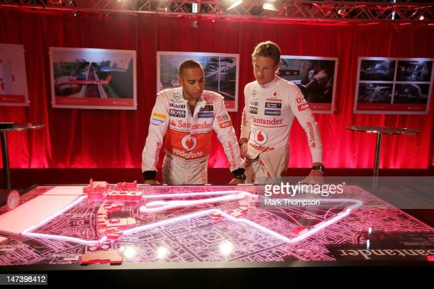 F1 drivers Lewis Hamilton and Jenson Button attend the launch of the London Grand Prix by Santander at the Royal Automobile Club on June 28 2012 in...