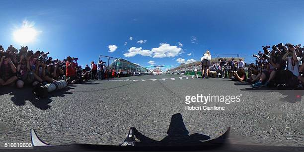 Drivers line up for photographers ahead of the 2016 Formula One season prior to the Australian Formula One Grand Prix at Albert Park on March 20 2016...