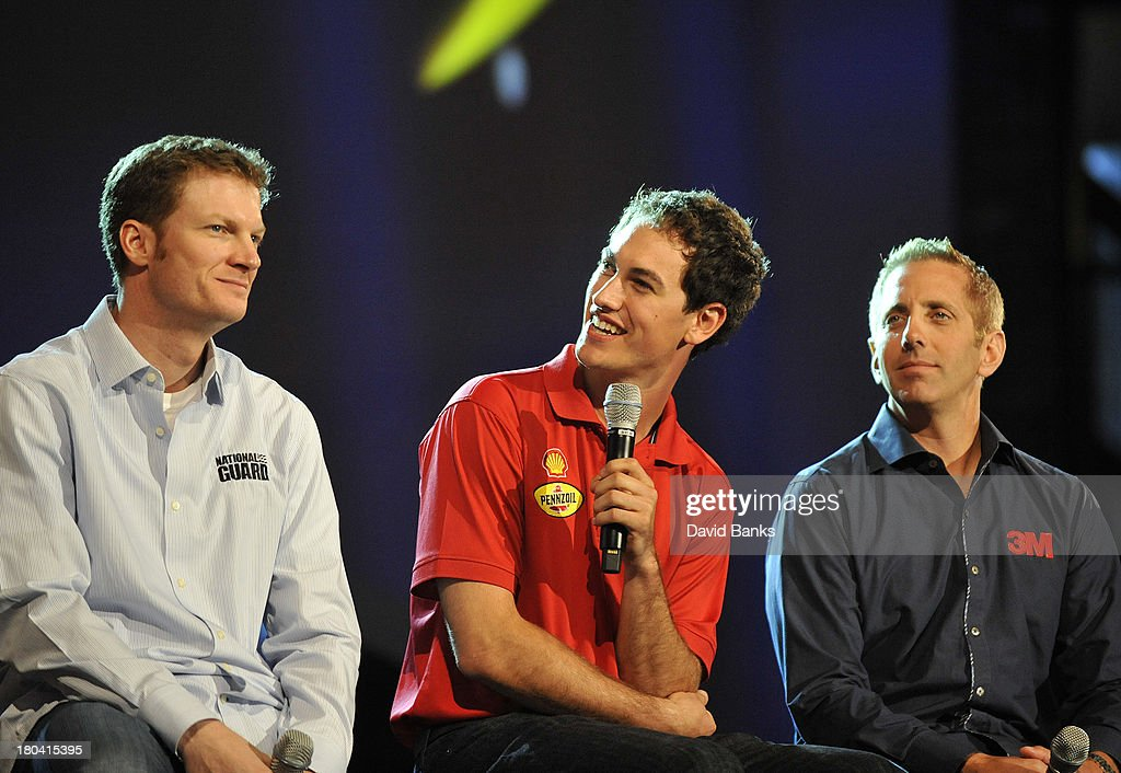NASCAR drivers L-R <a gi-track='captionPersonalityLinkClicked' href=/galleries/search?phrase=Dale+Earnhardt+Jr.&family=editorial&specificpeople=171293 ng-click='$event.stopPropagation()'>Dale Earnhardt Jr.</a> <a gi-track='captionPersonalityLinkClicked' href=/galleries/search?phrase=Joey+Logano&family=editorial&specificpeople=4510426 ng-click='$event.stopPropagation()'>Joey Logano</a>, and <a gi-track='captionPersonalityLinkClicked' href=/galleries/search?phrase=Greg+Biffle&family=editorial&specificpeople=209093 ng-click='$event.stopPropagation()'>Greg Biffle</a> answer questions during the Chase for the Sprint Cup Contenders Live on September 12, 2013 in Chicago, Illinois.