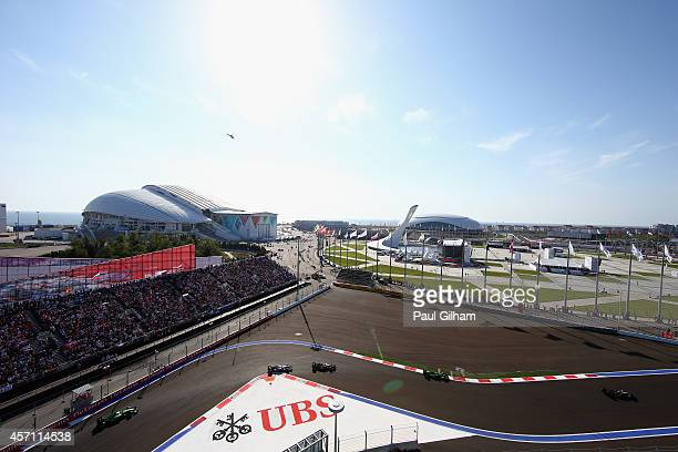 Drivers make their way round turn two during the Russian Formula One Grand Prix at Sochi Autodrom on October 12 2014 in Sochi Russia