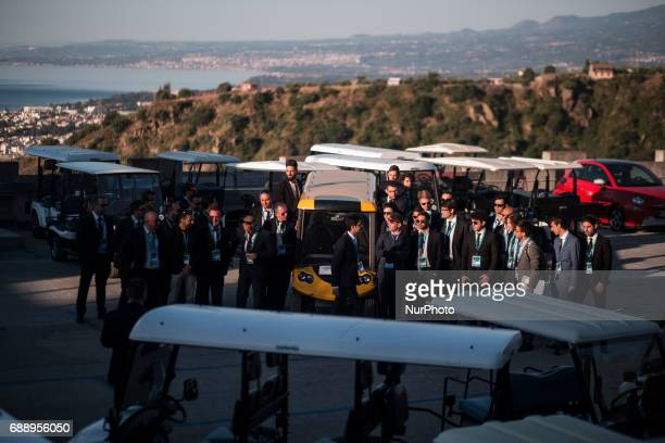 Drivers of delegations at the G7 Summit expanded session in Taormina Sicily on May 27 2017