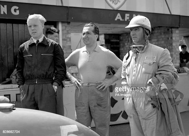 Drivers of Italy's crack Ferrari cars pictured at Silverstone during practice for the 6th RAC British Grand Prix Left to right Britain's Mike...