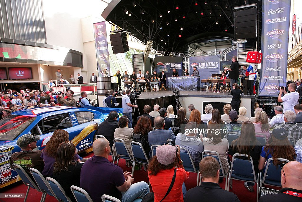 Drivers participate on stage in a version of the game 'Are you Smarter then a Fifth Grader?' during NASCAR Fanfest presented by Las Vegas Motor Speedway at the Fremont Street Experience on November 28, 2012 in Las Vegas, Nevada.