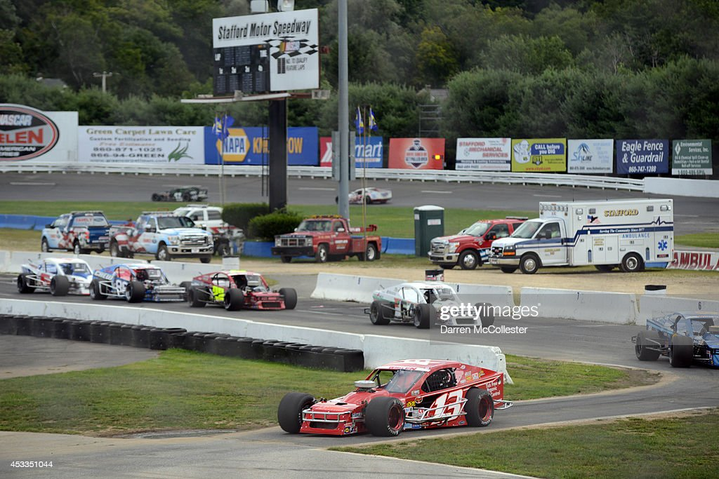 Drivers practice for the Call Before You Dig 811 150 at Stafford Motor Speedway August 8, 2014 in Stafford, Connecticutt.