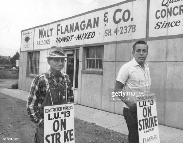 Drivers Strike 19 Concrete Firms Ed Reffel 2119 W Vassar Ave left and Danny Anderson 2014 S Clay St picket at Walt Flanagan and Co Inc premix...