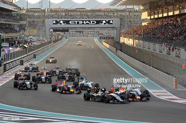 Drivers take the start of the Abu Dhabi Formula One Grand Prix at the Yas Marina circuit on November 29 2015 AFP PHOTO / TOM GANDOLFINI / AFP / Tom...