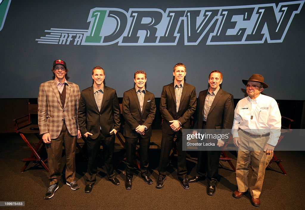 Drivers Travis Pastrana, Trevor Bayne, Ricky Stenhouse Jr., Carl Edwards and Greg Biffle of Roush Fenway Racing pose for a picture with Jack Roush during the 2013 NASCAR Sprint Media Tour on January 24, 2013 in Concord, North Carolina.