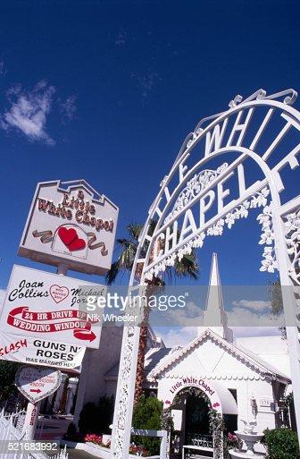 Drivethrough Wedding Chapel In Las Vegas Stock Photo