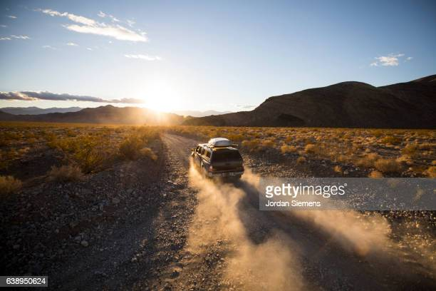 Driving a dusty road