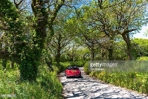 Driving a Mini Cooper convertible car along country lane on touring holiday of Devon and Cornwall in Southern England UK#13#10