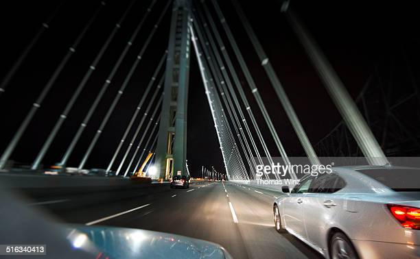 Driving across the Bay bridge at night