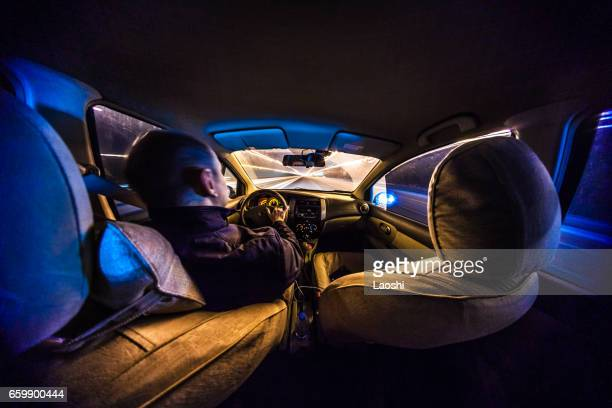 Driving at night with camera in car