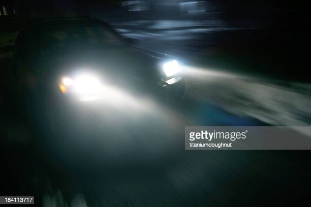 Driving at night with headlights on