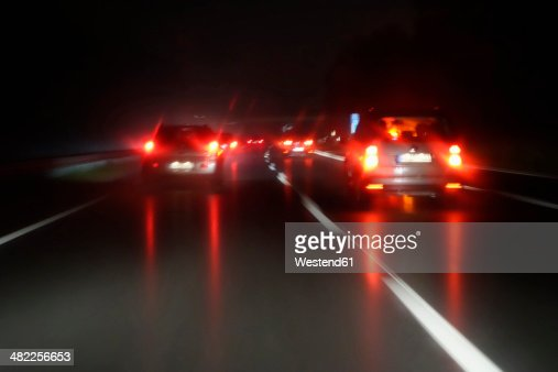 Driving by night at wintertime on motorway