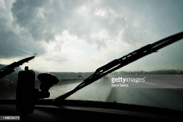 Driving in heavy rain on a highway