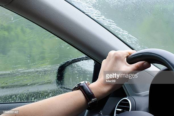 Driving in rainy weather with car