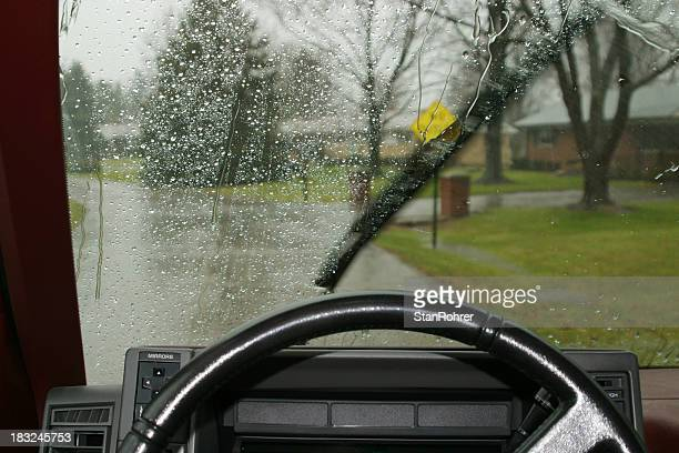 Driving In The Rain, Car Windsheild Wiper.