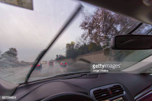 Driving in the rain in winter