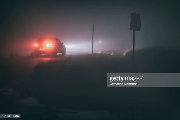 Driving in thick fog at night