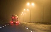 Driving on motorway in fog