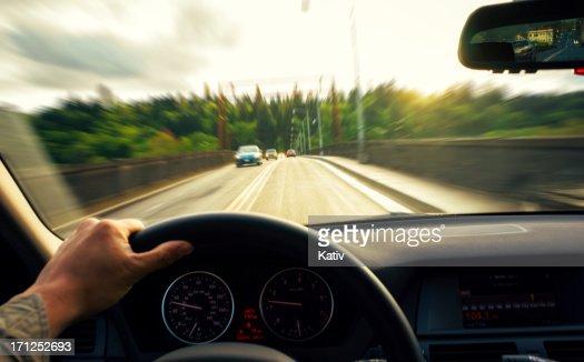 Driving over a bridge