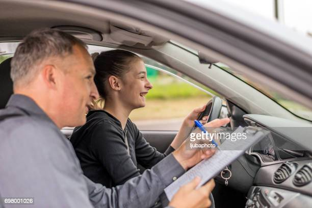 Driving Test, Focused on the road ahead of her