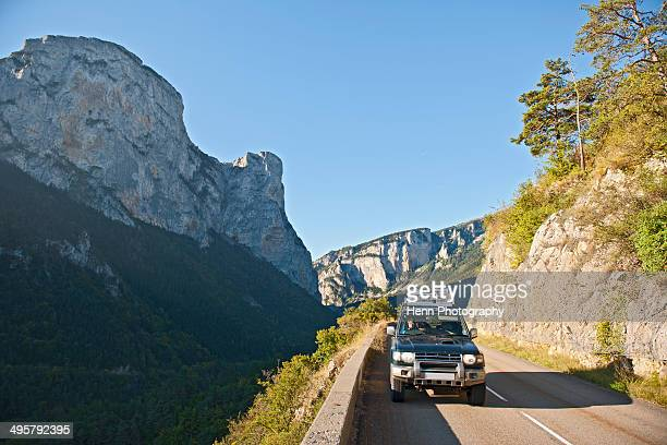SUV driving through the French Alpes