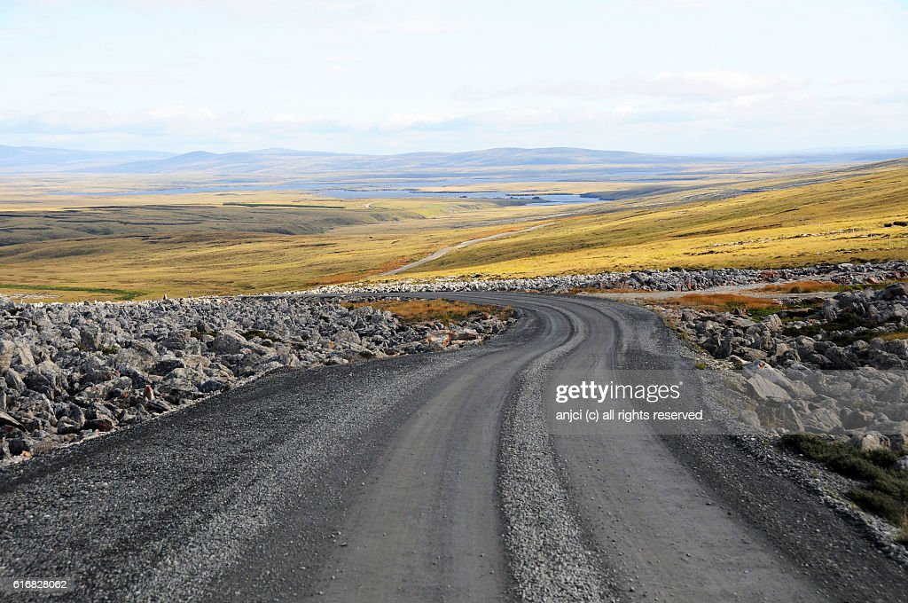 Driving to Johnson Harbour, East Falkland / Falkland Islands : Stock Photo