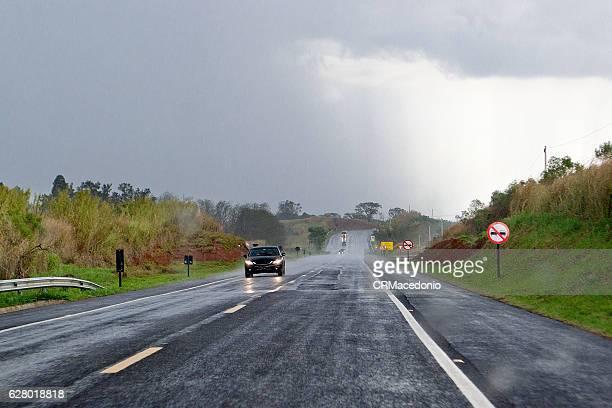 Driving under summer rain