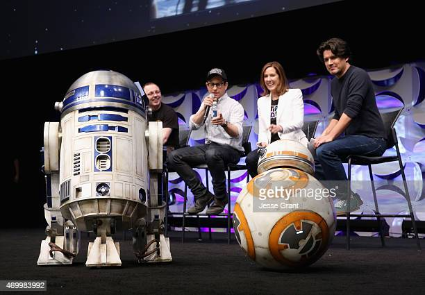 Droid builder Oliver Steeples director JJ Abrams producer Kathleen Kennedy and moderator Anthony Breznican with R2D2 and BB8 onstage during Star Wars...