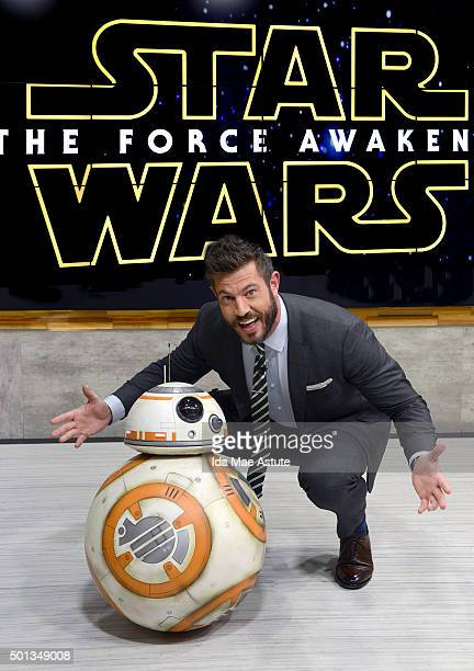 Droid from the new 'Star Wars' movie scoots around GOOD MORNING AMERICA 12/14/15 airing on the ABC Television Network BB8 DROID JESSE