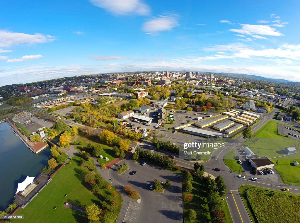 Drone aerial shot of Syracuse