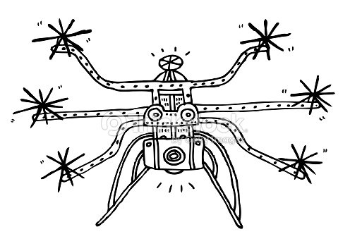 Drone Camera Black And White Line Drawing Stock Photo