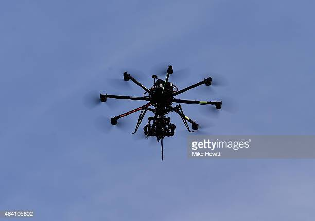 A drone camera flies in the sky during the Nordic Combined HS100 Normal Hill Ski Jumping team event during the FIS Nordic World Ski Championships at...
