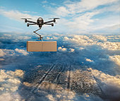 Drone delivering package over cityscape