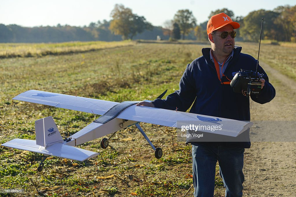 A PETA drone designed to capture illegal hunting activity is launched at Erwin Wilder Wildlife Management Area at on October 21, 2013 in Norton, Massachusetts.