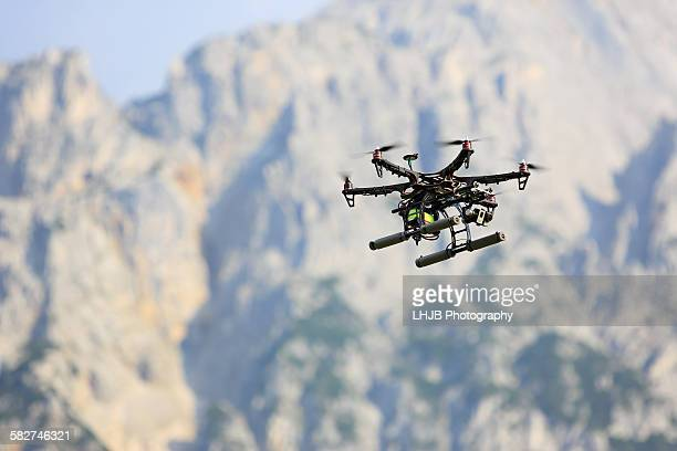 Drone flying around in mountain area