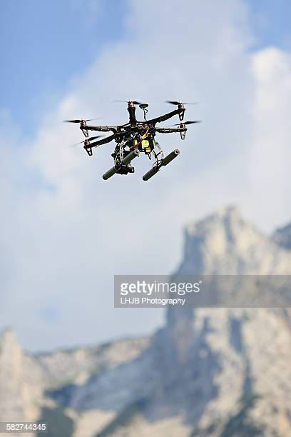 Drone flying in mountain area, Lermoos, Austria