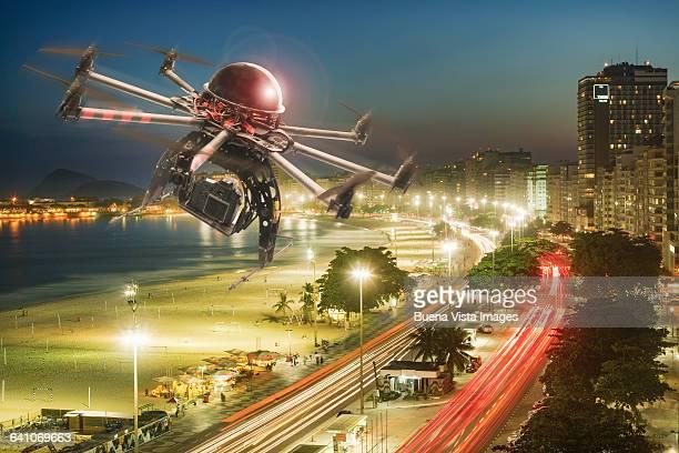 Drone flying over Copacabana in Rio de Janeiro