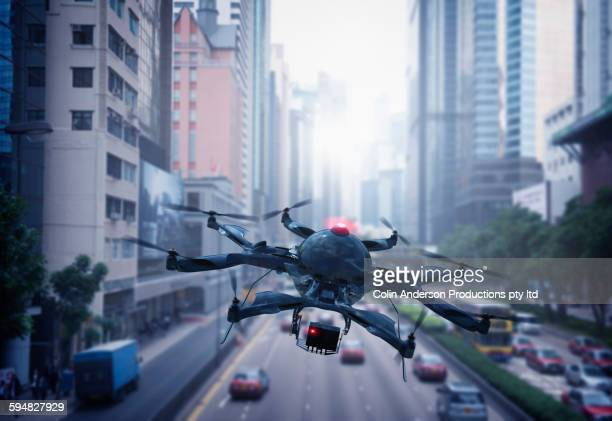 Drone flying over Hong Kong cityscape, Hong Kong